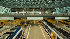 Time Lapse of Central Train Station - The Hague Netherlands Stock Footage