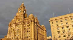 Liverpool's World Heritage status waterfront buildings - stock footage