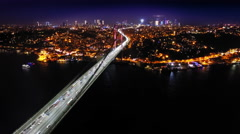 Night flight near Borphorus bridge Stock Footage