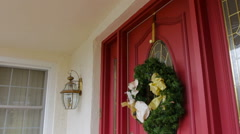 Christmas Wreath On Red Door Stock Footage