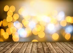 Stock Photo of Wooden table and Bokeh light background.
