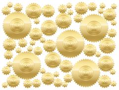 Cogs Golden Gear Wheels Stock Illustration
