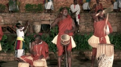 African tribe musicians playing folk music - drums - native african dancers - stock footage