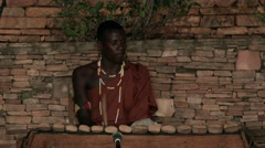 African tribe musician play folk music balafon - wooden xylophone,percussion - stock footage