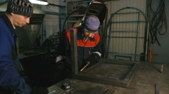 Man works with the welding machine. Close-up Stock Footage