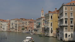 Grand Canal with old buildings and church tower in Venice Stock Footage