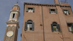 View of Chiesa di Santi Apostoli tower in Venice Stock Footage