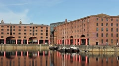 The Albert Dock in Liverpool UK on a beautiful sunny day Stock Footage