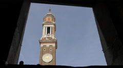 Low angle view of Chiesa di Santi Apostoli tower in Venice - stock footage