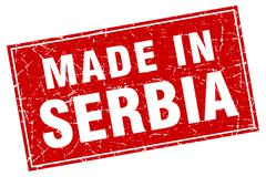 Serbia red square grunge made in stamp - stock illustration