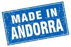 Andorra blue square grunge made in stamp - stock illustration