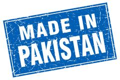 Pakistan blue square grunge made in stamp - stock illustration