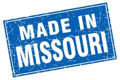 Missouri blue square grunge made in stamp - stock illustration