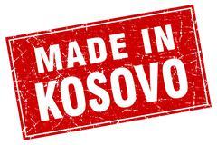 Kosovo red square grunge made in stamp - stock illustration