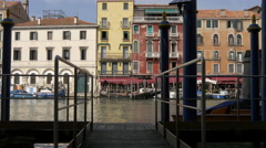 Riva del Vin seen from a wooden pier in Venice Stock Footage