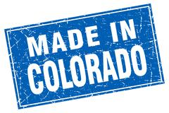 Colorado blue square grunge made in stamp Stock Illustration