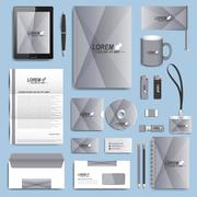 Set of vector corporate identity template. Modern business stationery design - stock illustration