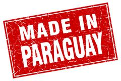 Paraguay red square grunge made in stamp Stock Illustration