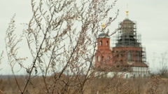 View of the reconstructed church through a branch plant Stock Footage