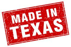 Texas red square grunge made in stamp - stock illustration