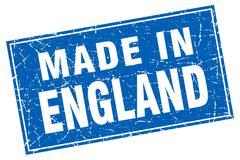 England blue square grunge made in stamp - stock illustration
