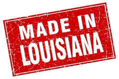 Louisiana red square grunge made in stamp - stock illustration