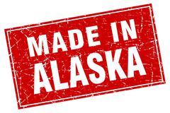 Alaska red square grunge made in stamp - stock illustration