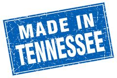 Tennessee blue square grunge made in stamp - stock illustration