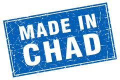 Chad blue square grunge made in stamp Stock Illustration