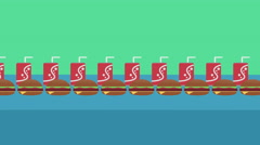 Fast Food Concept, Seamless looping Background of humbuggers and soda cans Stock Footage