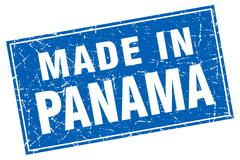 Panama blue square grunge made in stamp - stock illustration
