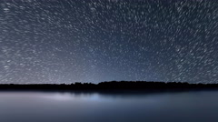 Star Trails, Beautiful Blue Night reflection - stock footage