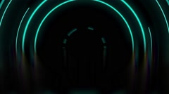 Green abstract arc lines and circles animation Stock Footage