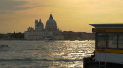 The Venetian Lagoon seen at dusk with Basilica Santa Maria della Salute, Venice Stock Footage