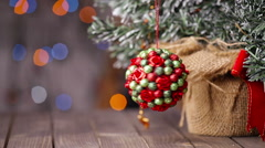 Christmas tree and some decorations in the background - stock footage