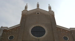 Low angle view of Basilica dei Santi Giovanni e Paolo in Venice Stock Footage