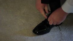 Man Tying Dress Shoes Stock Footage