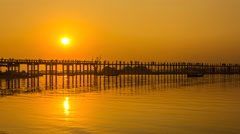 U Pain (Bain) Bridge Landmark Place Of Mandalay, Myanmar On Sunset Stock Footage