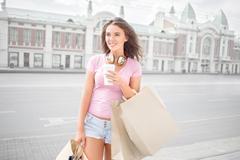 Break after shopping. Stock Photos