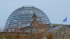 Berlin Bundestag Reichstag Detail Dome in autumn Stock Footage