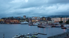 Time Lapse of the Scenic Port of Oslo Day to Night -  Norway Europe Stock Footage
