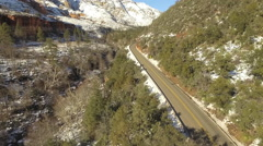 Oak Creek Canyon Highway 89A Sedona Rare Aerial in Snow Stock Footage
