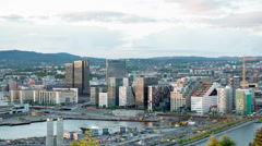 Time Lapse of Barcode Buildings -  Oslo Norway Europe Stock Footage