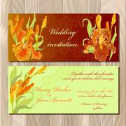 Wedding invitation card with red iris flower background. Vector illustration Stock Illustration