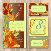 Wedding card design with red iris flowers. Printable vector illustration Stock Illustration