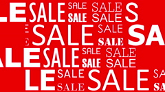 Sale words on red background Stock Footage