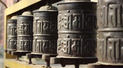 Prayer wheel close up. The approach of using the slider Stock Footage