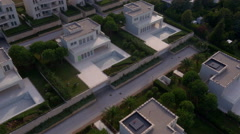 Aerial - New construction homes pending sale in a luxury neighborhood - stock footage