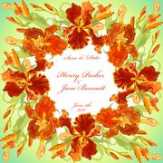 Wedding card with red iris flower wreath background. Vector illustration Stock Illustration