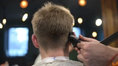 Barber Shapeup Haircut White Man with Electric Razor Barbershop Stock Footage